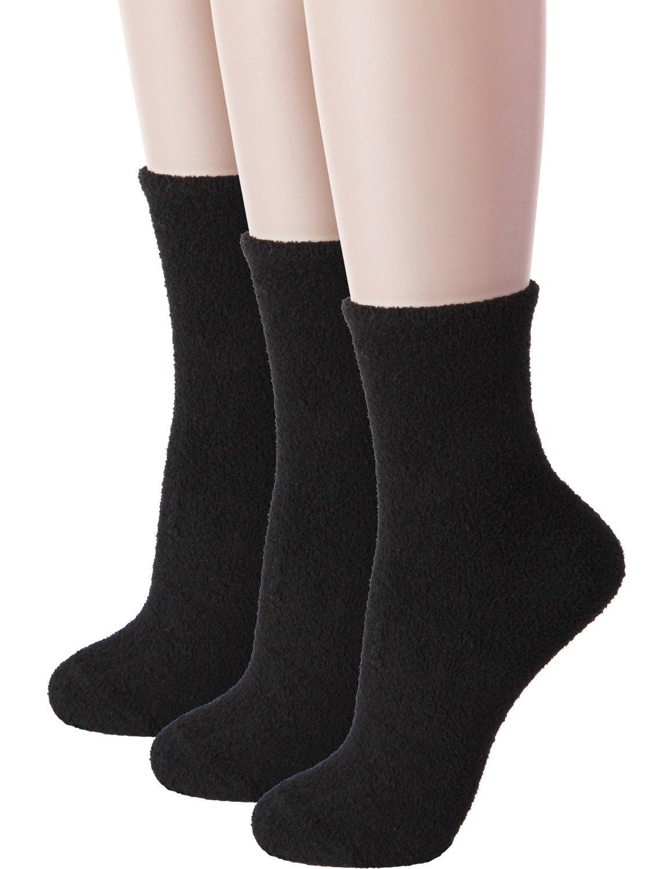 HASLRA Soft Warm Fine-Needle Microfiber Fuzzy Socks 3 Pairs (BLACK)