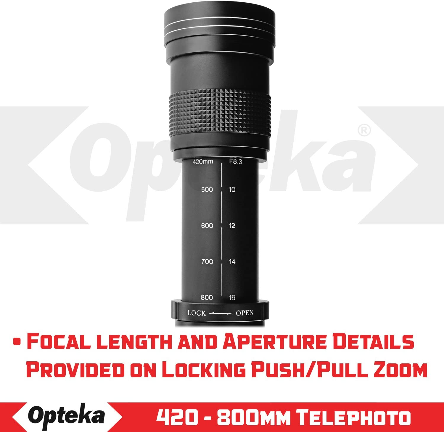 Opteka 420-800mm Z7 and Z6 Digital Mirrorless Cameras f//8.3 HD Telephoto Zoom Lens for Nikon Z-Mount Z50 w// 2X- 840-1600mm