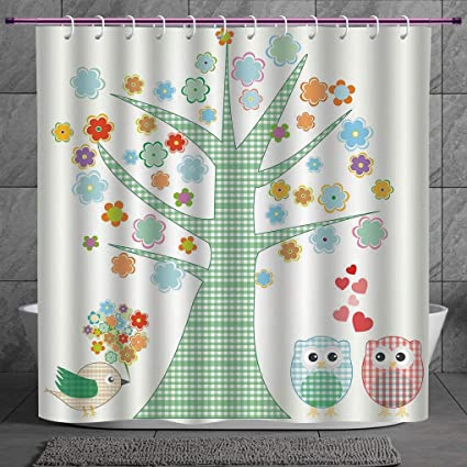 Funky Shower Curtain 20 NurseryRomantic Owls In Love And Big Tree With Colorful