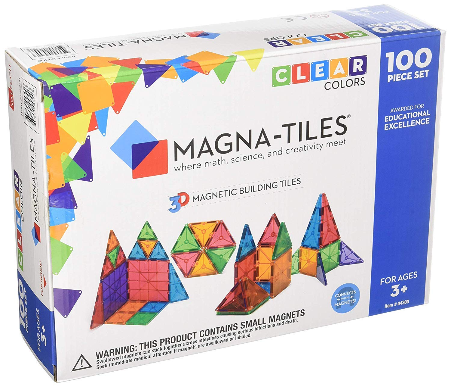 Magna-Tiles 100-Piece Clear Colors Set - The Original, Award-Winning Magnetic Building Tiles - Creativity and Educational - STEM Approved Bundled 02300 Solid Colors 100 Piece Set by Magna-Tiles (Image #1)