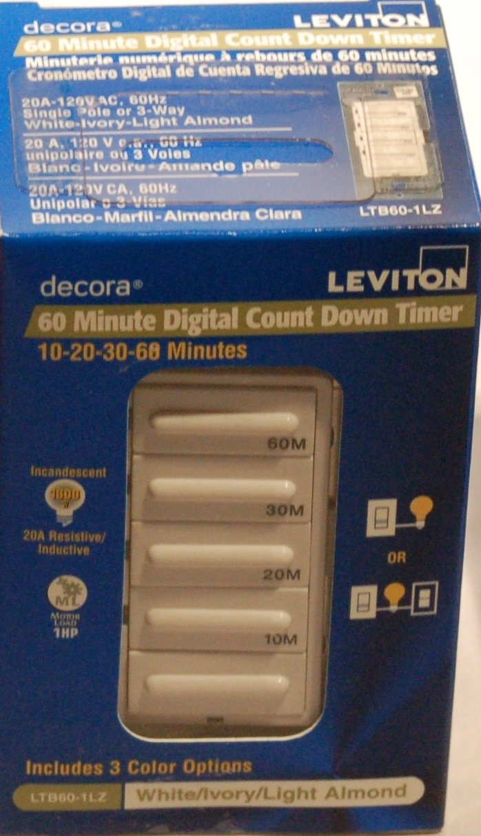 leviton ltb30 1lz decora 1800w incandescent 20a resistive leviton ltb30 1lz decora 1800w incandescent 20a resistive inductive 1hp preset 5 10 15 30 minute countdown timer switch white ivory light almond