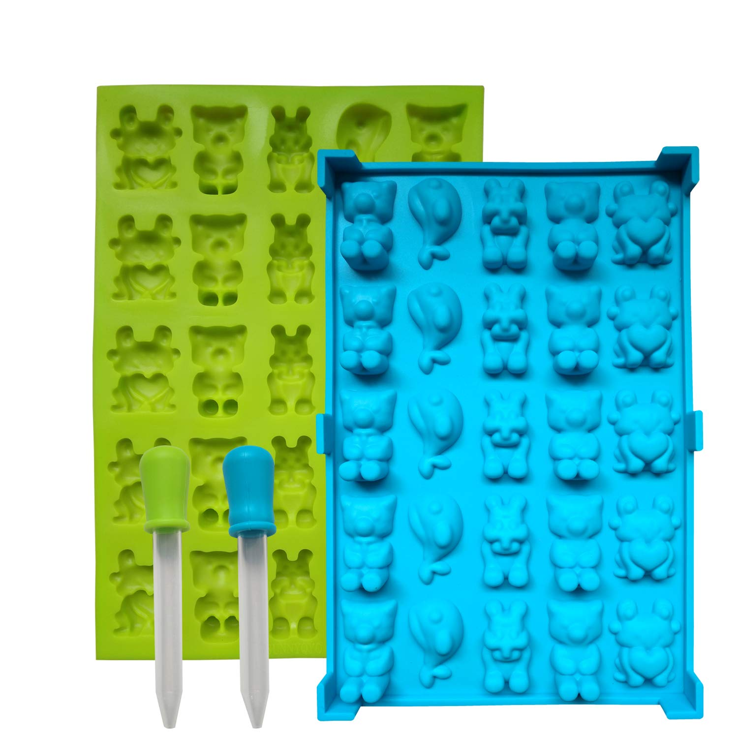 2 Pack Nonstick Chocolate Gummy Bear Mold Food Grade BPA Free Silicone Candy Mold-5 in 1 Animals Including Tiger, Cat, Frog,fish & Bear Mold with 2 Bonus Droppers