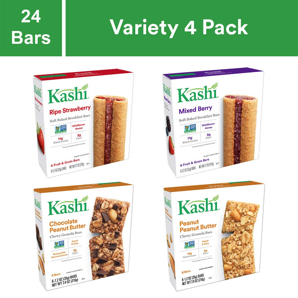 Kashi Chewy bar Variety Pack - Ripe Strawberry & Mixed Berry Cereal Bars | Chocolate Peanut Butter & Peanut Butter Chewy Granola Bars