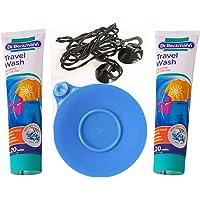 Terrevista Trails Kit de lavandería de viaje – 1 tapón universal de silicona para fregadero, 2 gel de lavado Dr…