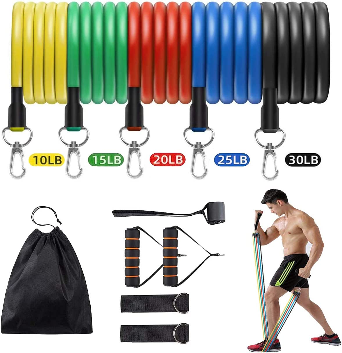 Resistance Bands Set 5-piece Exercise Bands With Handles Door Anchor Workout Bands Workout Bands Elastic Bands For Exercise Fitness Bands For Working Out Bodylastics Heavy Duty Resistant Bands For Men