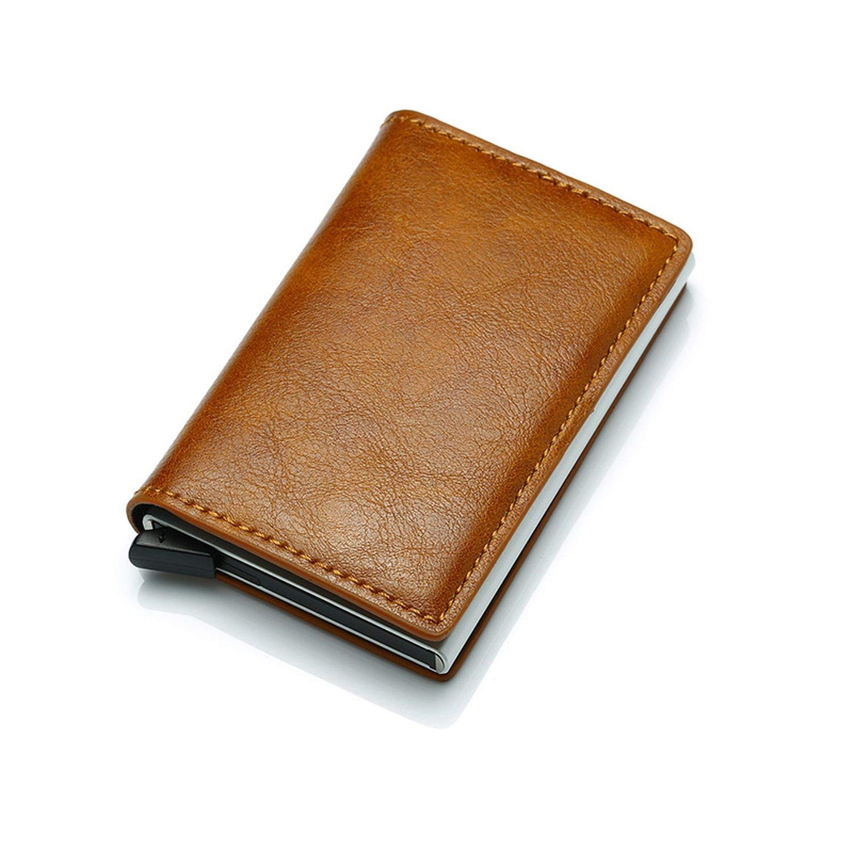 Antitheft Men Vintage Credit Card Holder Blocking Rfid Wallet Leather Unisex Security Aluminum Metal Purse,Apricoot