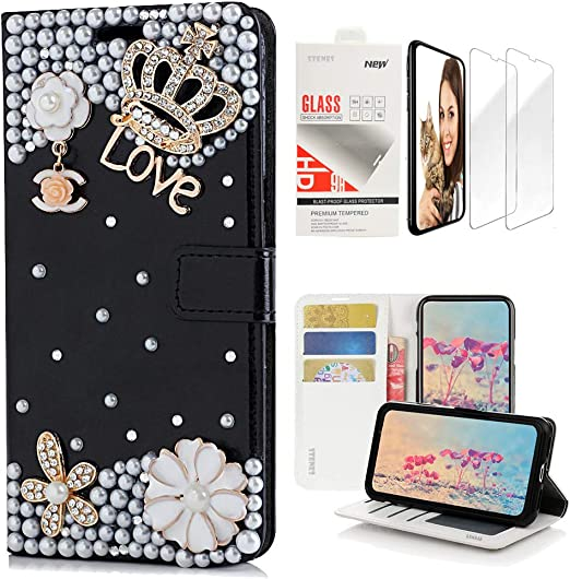 3D Handmade Butterfly Flowers Floral Leather Cover with Ring Stand Holder STENES Bling Wallet Case Compatible with Sony Xperia 1 Stylish 2 Pack - Black