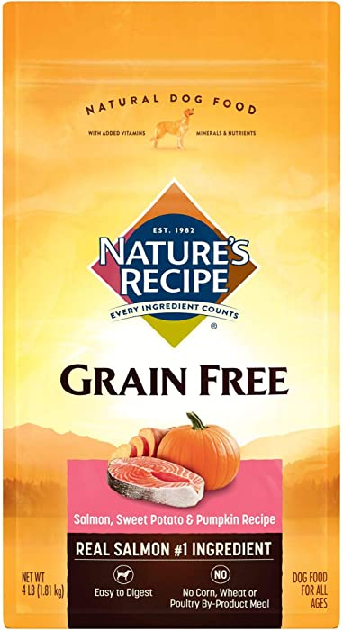 Nature'S Recipe Grain Free Salmon Recipe Dry Dog Food, 4-Pound