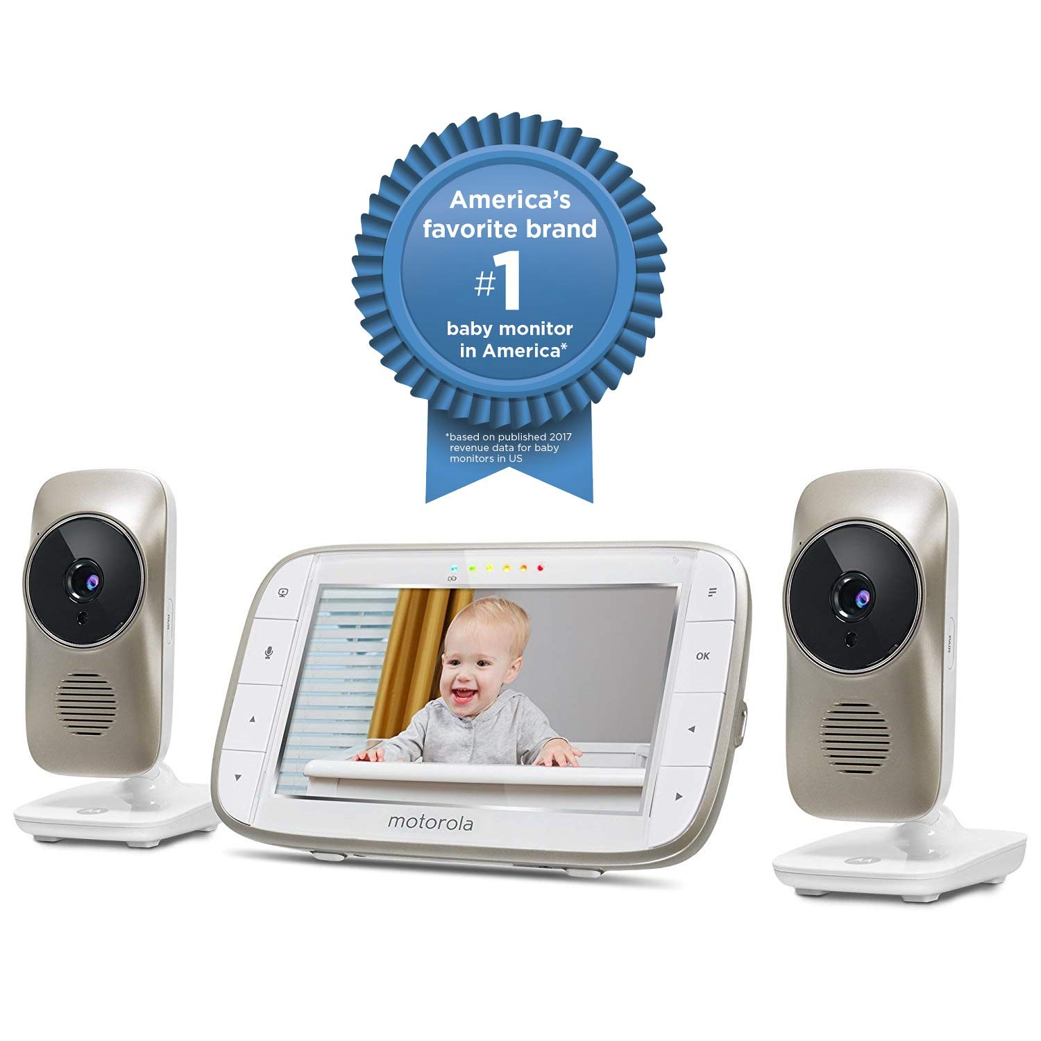 Motorola MBP845CONNECT-2 5'' Video Baby Monitor with Wi-Fi Viewing, 2 Cameras, Digital Zoom, Two-Way Audio, and Room Temperature Display by Motorola Baby (Image #2)