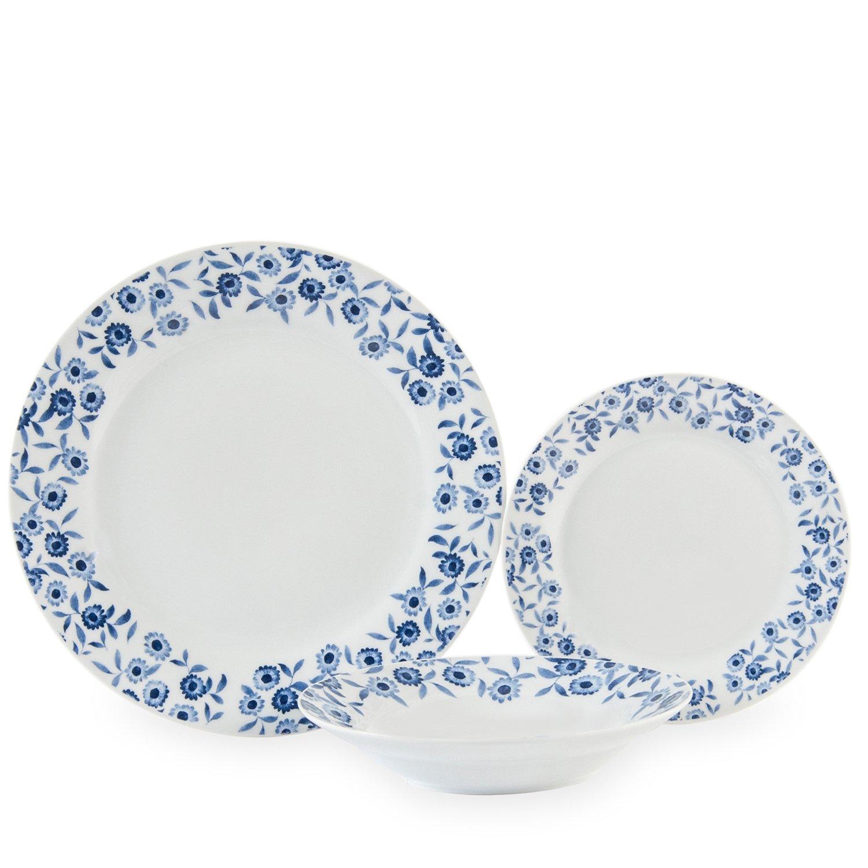 Sabichi 12pc Bramble Dinner Set, Porcelain, Blue, 18 x 29 x 29 cm 188670