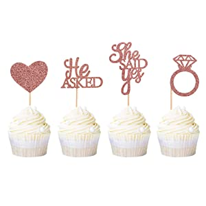 Ercadio 48 Pack He Asked She Said Yes Cupcake Toppers Rose Gold Glitter Heart Ring Cupcake Picks Wedding Engagement Bridal Shower Party Cake Decorations Supplies