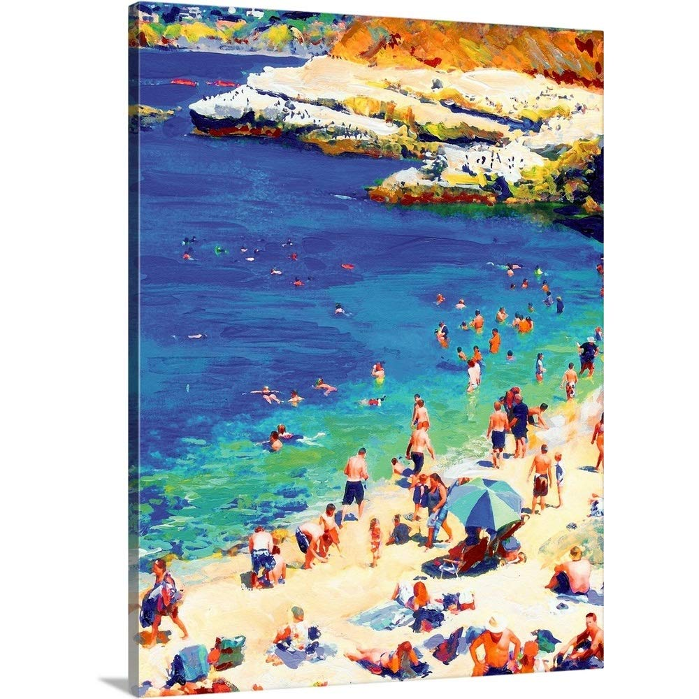 GREATBIGCANVAS Gallery-Wrapped Canvas Entitled Swimming at La Jolla Cove by RD Riccoboni 18''x24'' by GREATBIGCANVAS