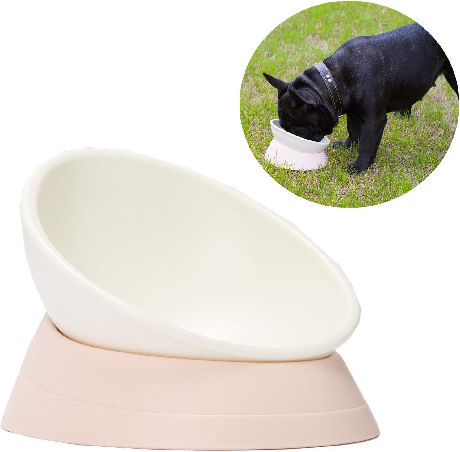 JWPC Bulldog - Cuenco Antideslizante para Perro o Gato, de Goma, extraíble, estéril, Inclinado, Base Inclinada para comedero de Mascotas