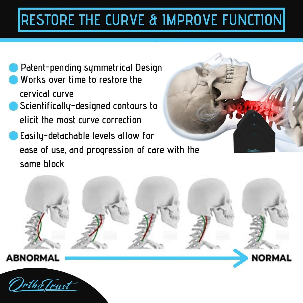 Zenith Cervical Traction Orthotic Chiropractic Neck Corrector 3-in-1 Device for Stretching Forward Head Posture Physical Therapy & Pain Relief: Health & Personal Care