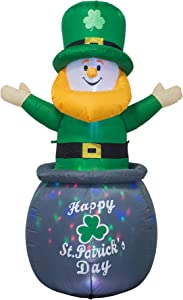 AJY 6 Feet St. Patrick's Day Inflatable Leprechaun in Pot with Coins Blow Up Indoor Outdoor Yard Lawn Decoration