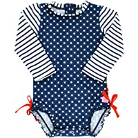 cb62a3aa2b RuffleButts Baby/Toddler Girls Long Sleeve One Piece Swimsuit with UPF 50+ Sun  Protection
