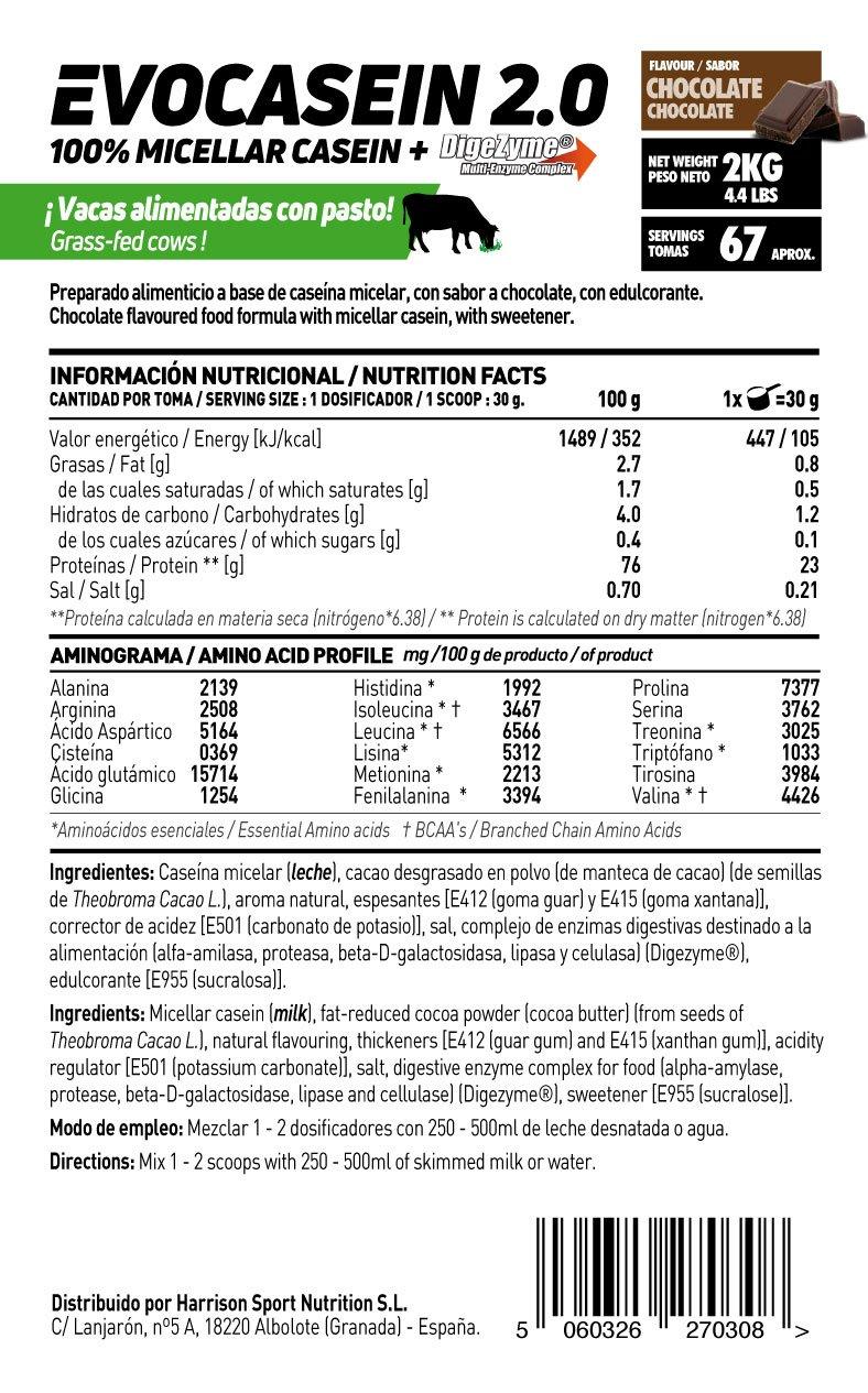 Caseína Micelar de HSN Sports - Evocasein 2.0 - Proteína para Antes de Dormir - Liberación Sostenida durante la Noche - En Polvo - Sabor Chocolate - 2000 ...