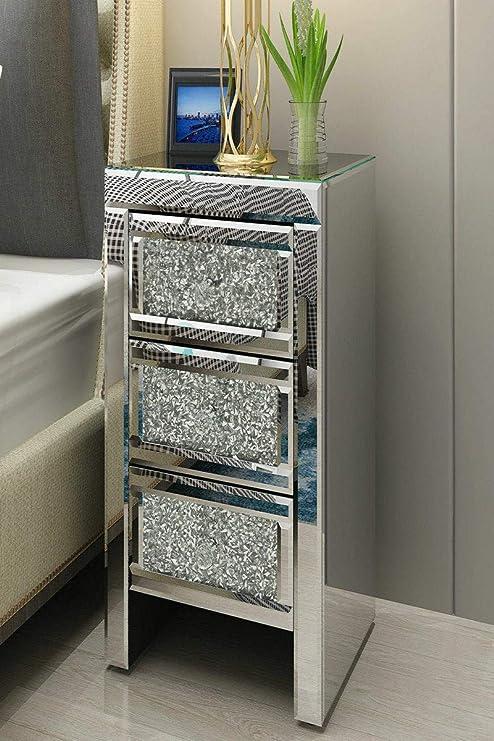 Comodino con 3 cassetti in vetro per camera da letto specchio Generic edroom Furniture 3 cassetti