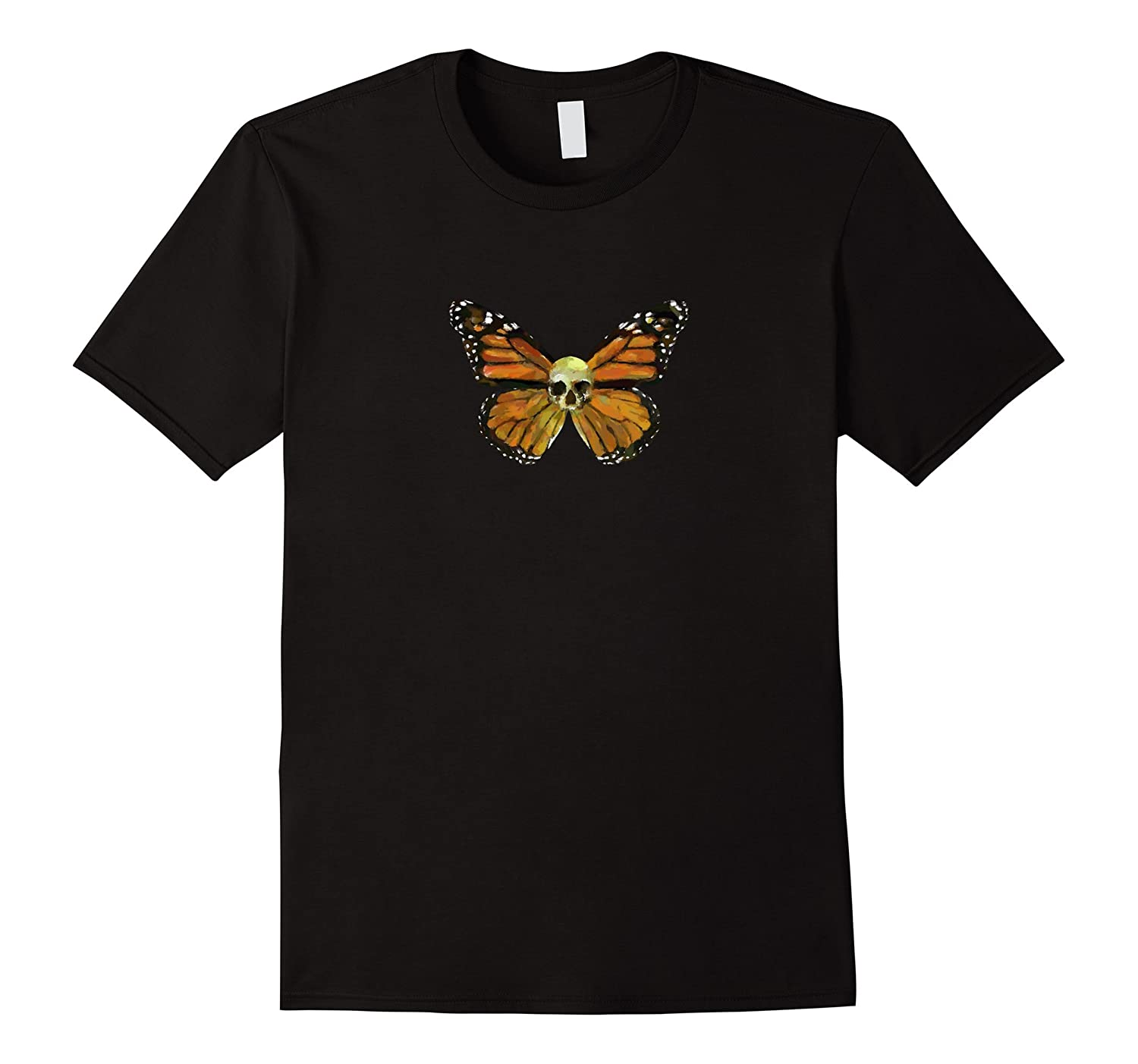 Skull Monarch Butterfly Goth Rockabilly tee-Art