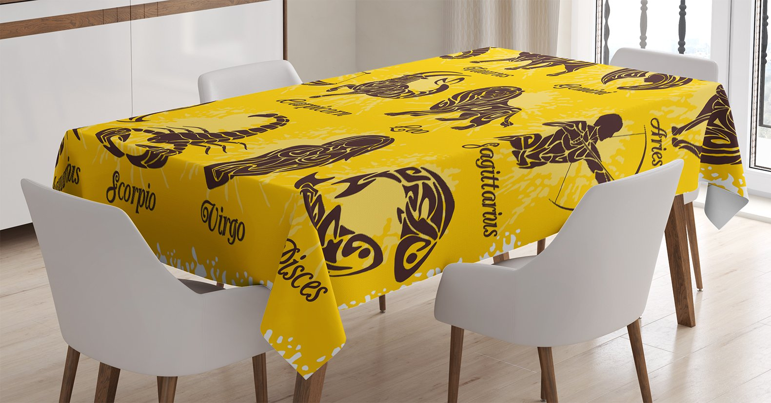 Ambesonne Zodiac Decor Tablecloth, Signs on Grungy Background Solar Celestial Constellation on Human Print, Dining Room Kitchen Rectangular Table Cover, 52 W X 70 L inches, Mustard Brown