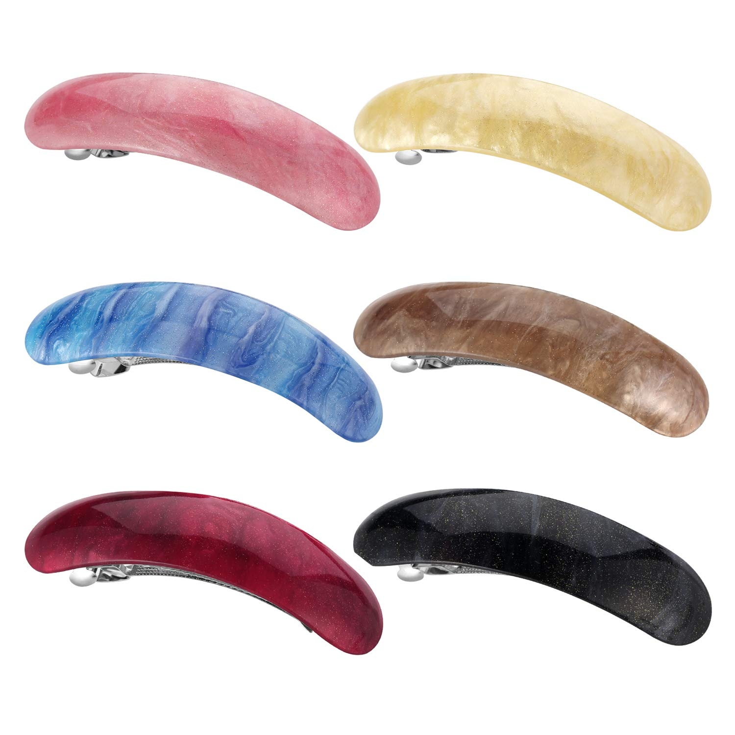 Hair Barrettes for Women Ladies, Funtopia 6 Pack 3.7 Inches Simple Retro Automatic Hair Clip for Medium and Thick Hair, Classic Hair Holders Barrettes for Daily Wearing