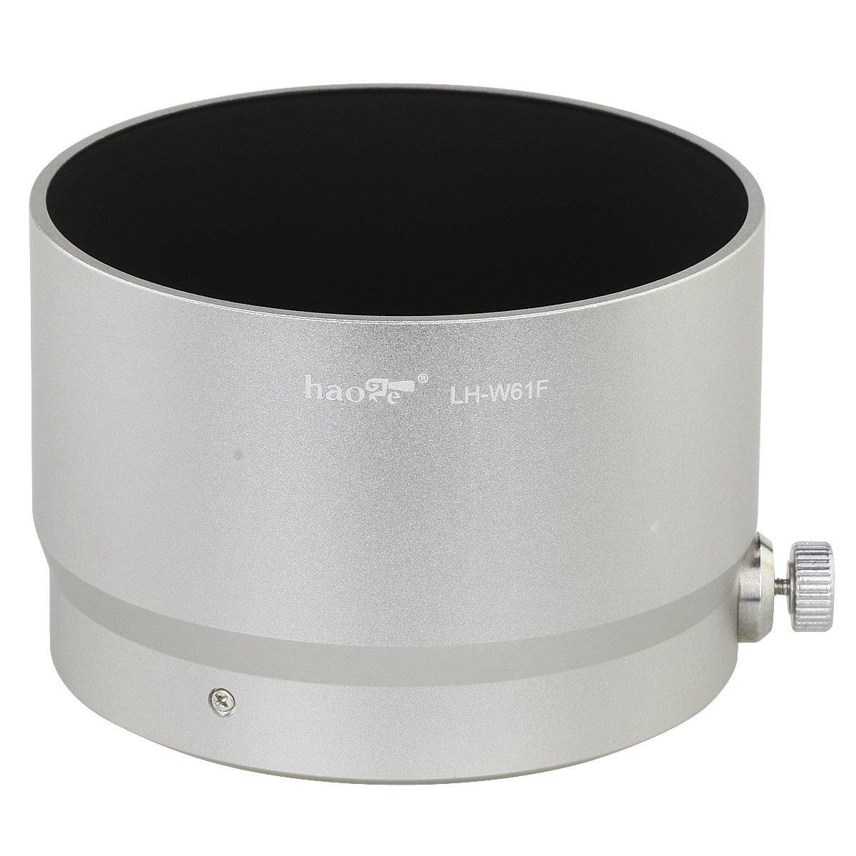 Haoge LH-W61F Metal Lens Hood Shade for Olympus M.ZUIKO Digital ED 75mm F1.8 Lens Replaces Olympus LH-61F Silver