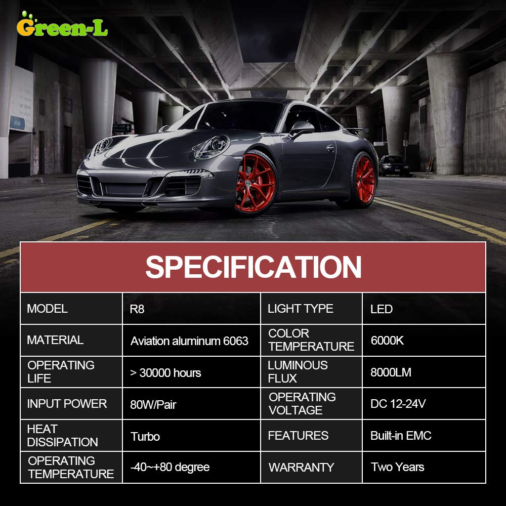 Green-L LED Headlight Bulbs H11/H8/H9 All-in-One Conversion Kits COB 8000LM 6000k White Super Bright Automotive Headlamp- 2 Year Warranty