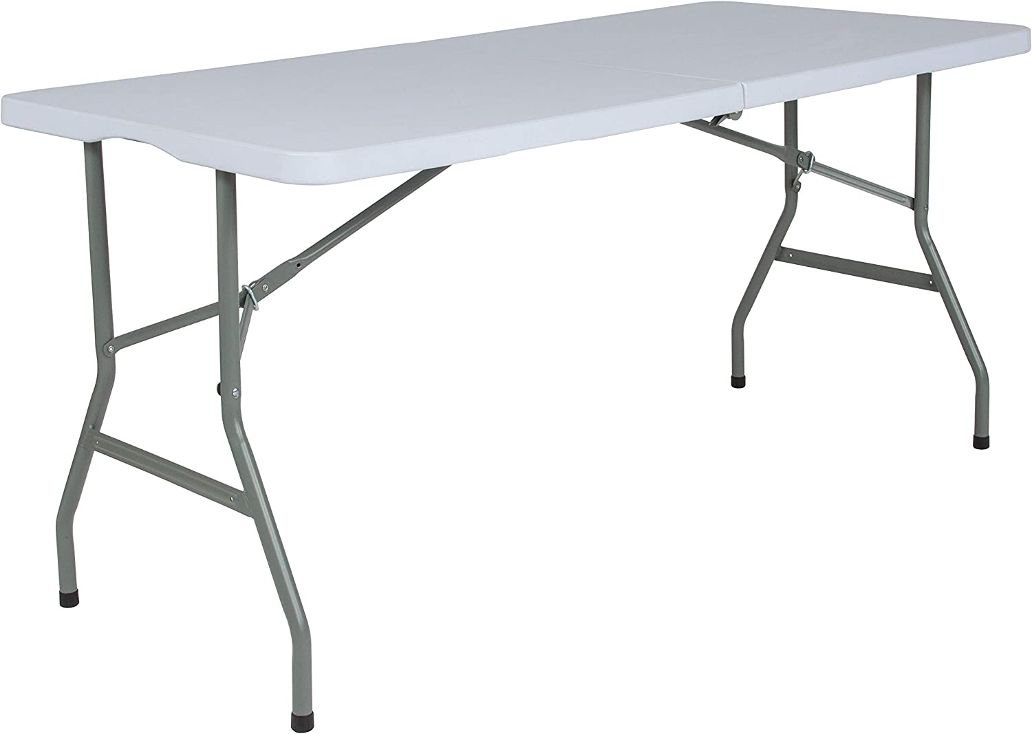 Flash Furniture 5-Foot Bi-Fold Granite White Plastic Folding Table