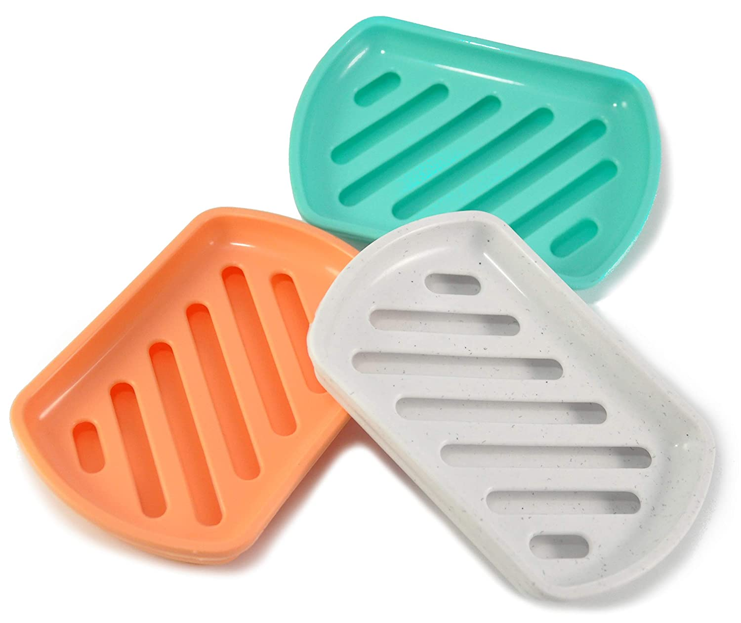 3-Pack Brush scrubbers Clean /& Dry for countertops draining Dish Keeps soap bar MHH 1002336 Soap Holders Violet mudroom Kitchen sponges Slotted Drainer Bathroom Two Layer Tray White Orange