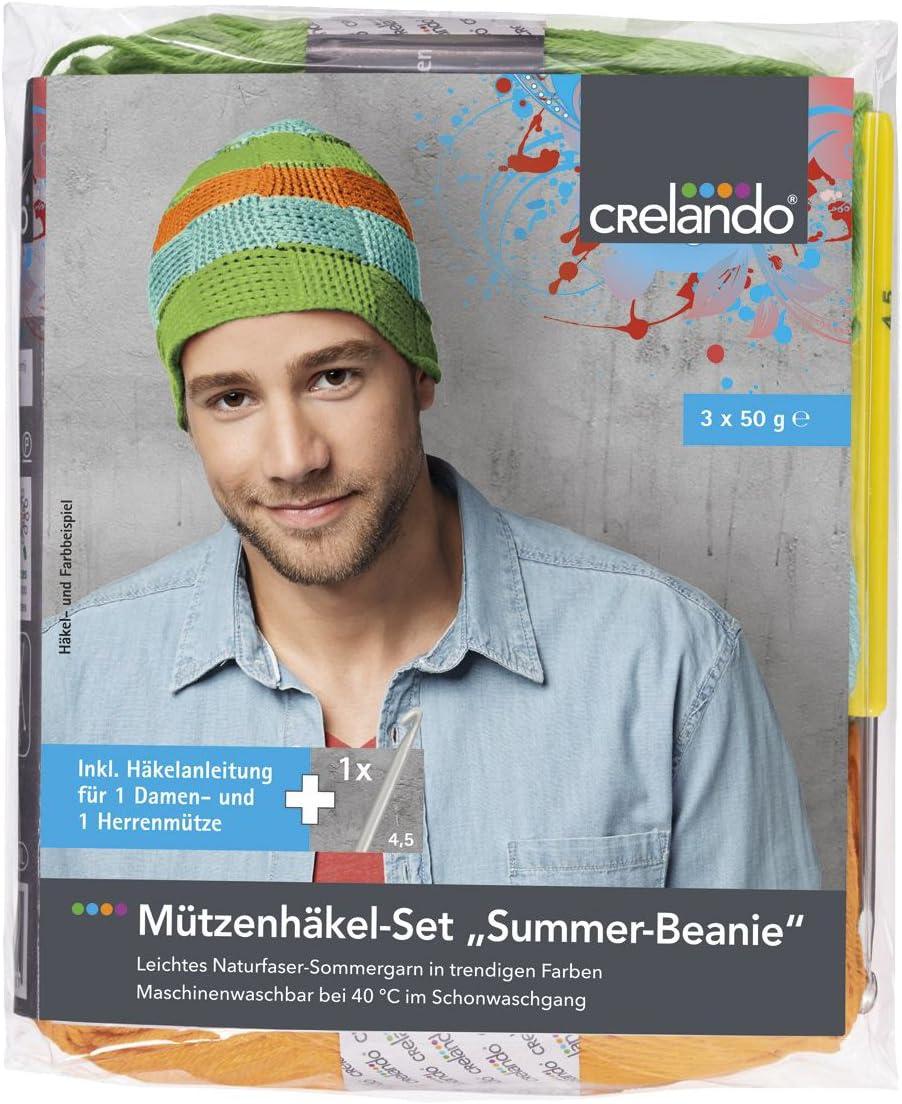 87/% Baumwolle 2x Mint, 1x Hellgrau - 01//01//02 CRELANDO/® M/ützenh/äkel-Set Summer-Beanie 13/% Leinen