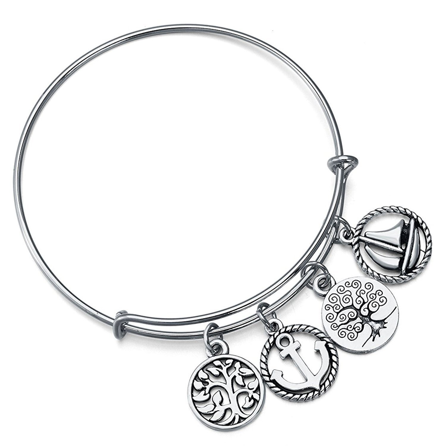 Majesto Sea Anchor Boat Tree Expandable Wire Bangle Charm Bracelet Adjustable for Women Teen Girls Jewelry Gift