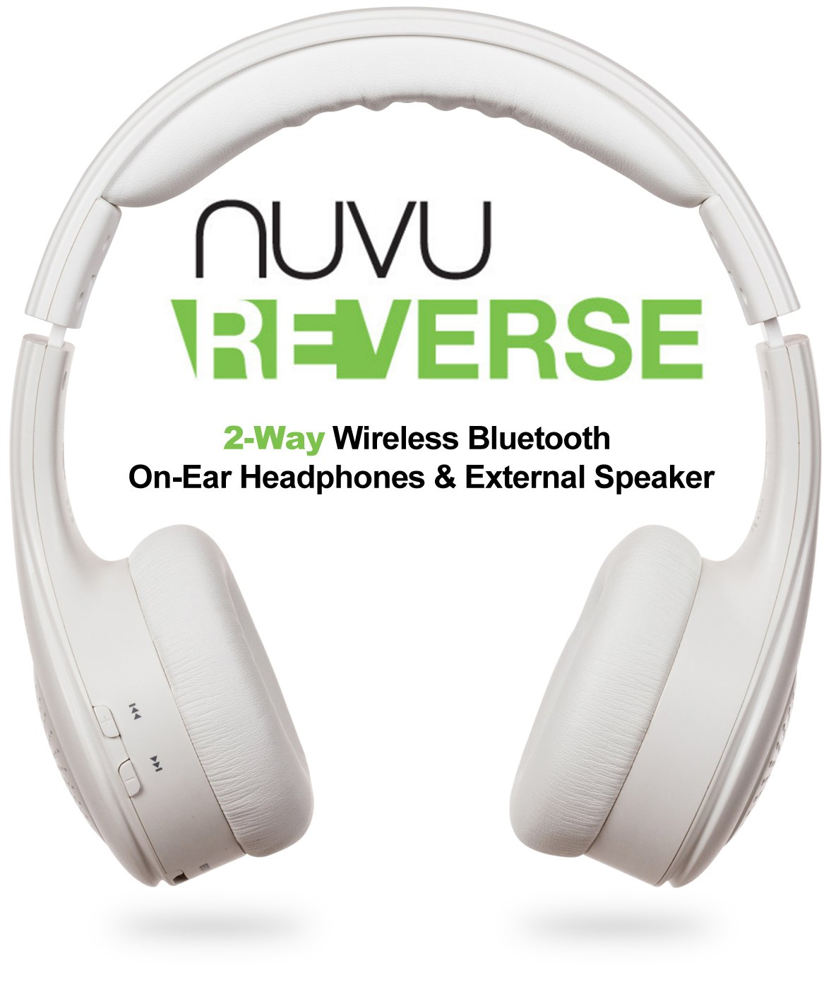NUVU ReVerse - 2-Way Wireless Bluetooth On-Ear Headphones & External Speaker Stereo System - White