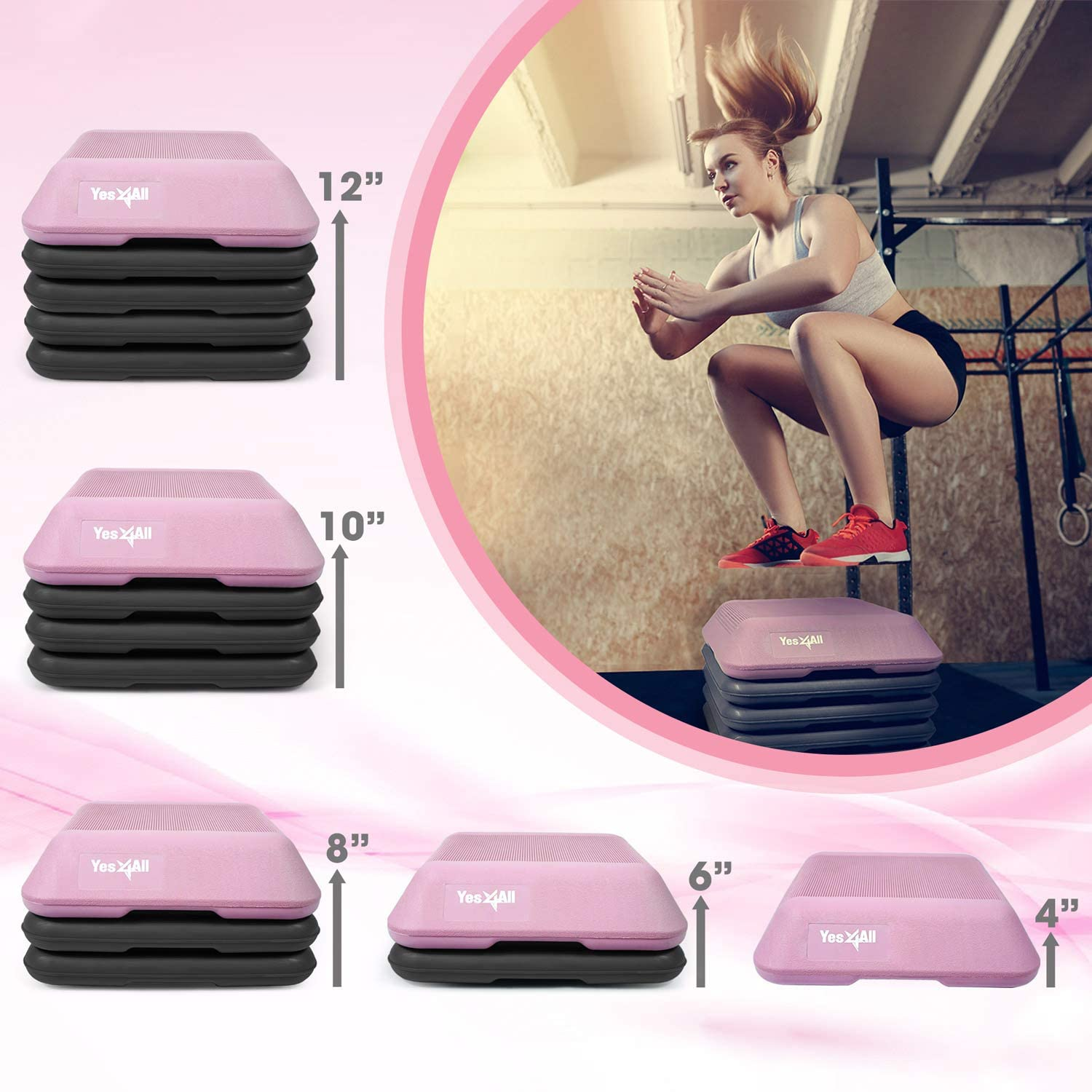 Yes4All 16 x 16 Adjustable High Step Aerobic Platform with 4 Risers
