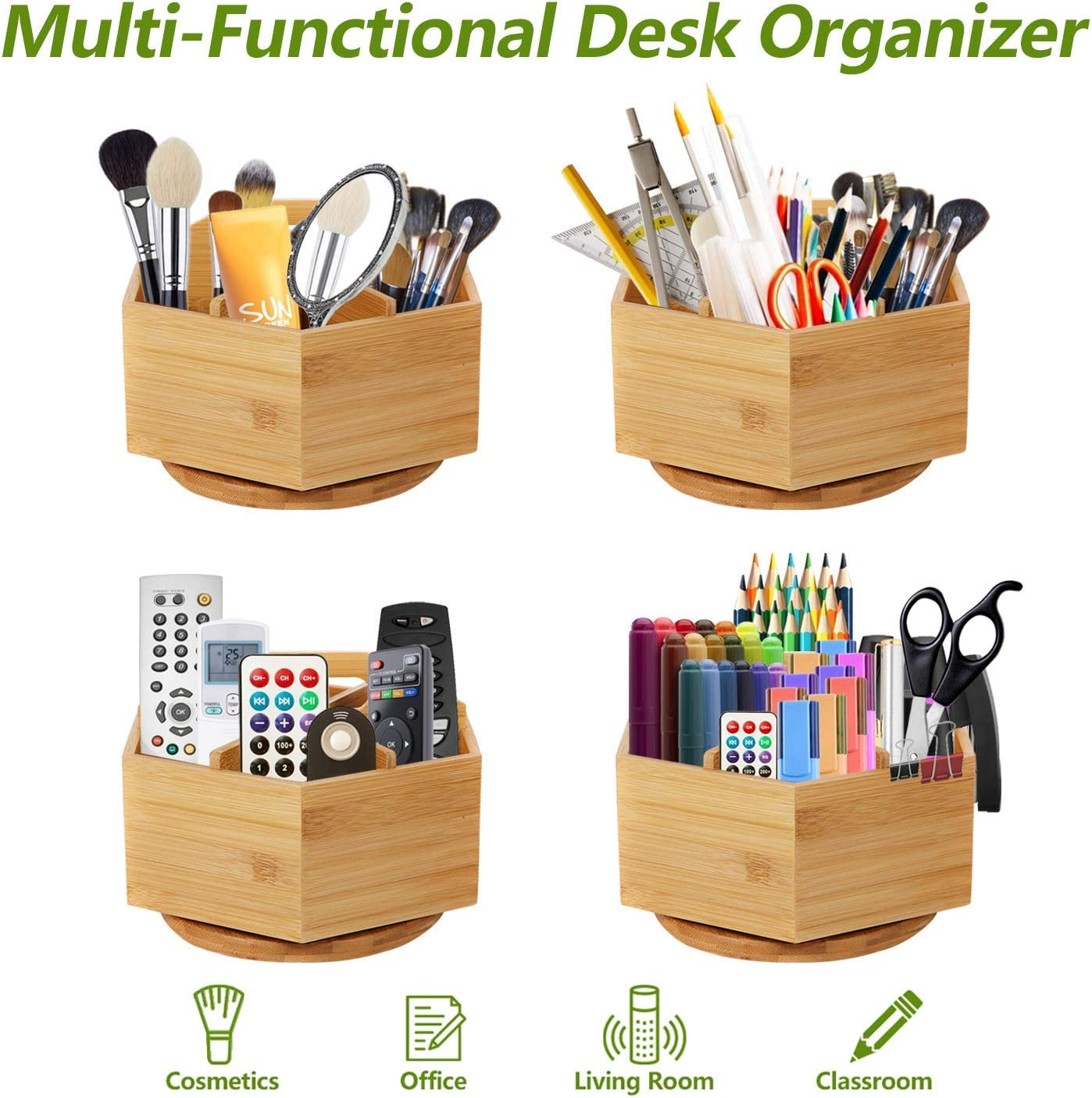 Paint Brushes Office Supplies Desktop Storage Caddy Marbrasse Bamboo Art Supply Desk Organizer Markers Rotating Pencil Holder with 6 Compartments Like Colored Pencils Pen