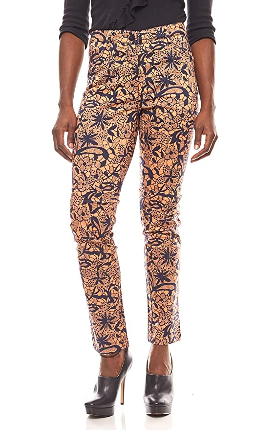 ashley brooke Damen Push-Up Druckhose im Ethno Look Stoff-Hose Herbst-Hose Braun