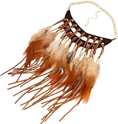 BigDO Jewelry Fashion Tribal Style Feathers and Leather Tassels Charm Necklace Collar Bib for Women