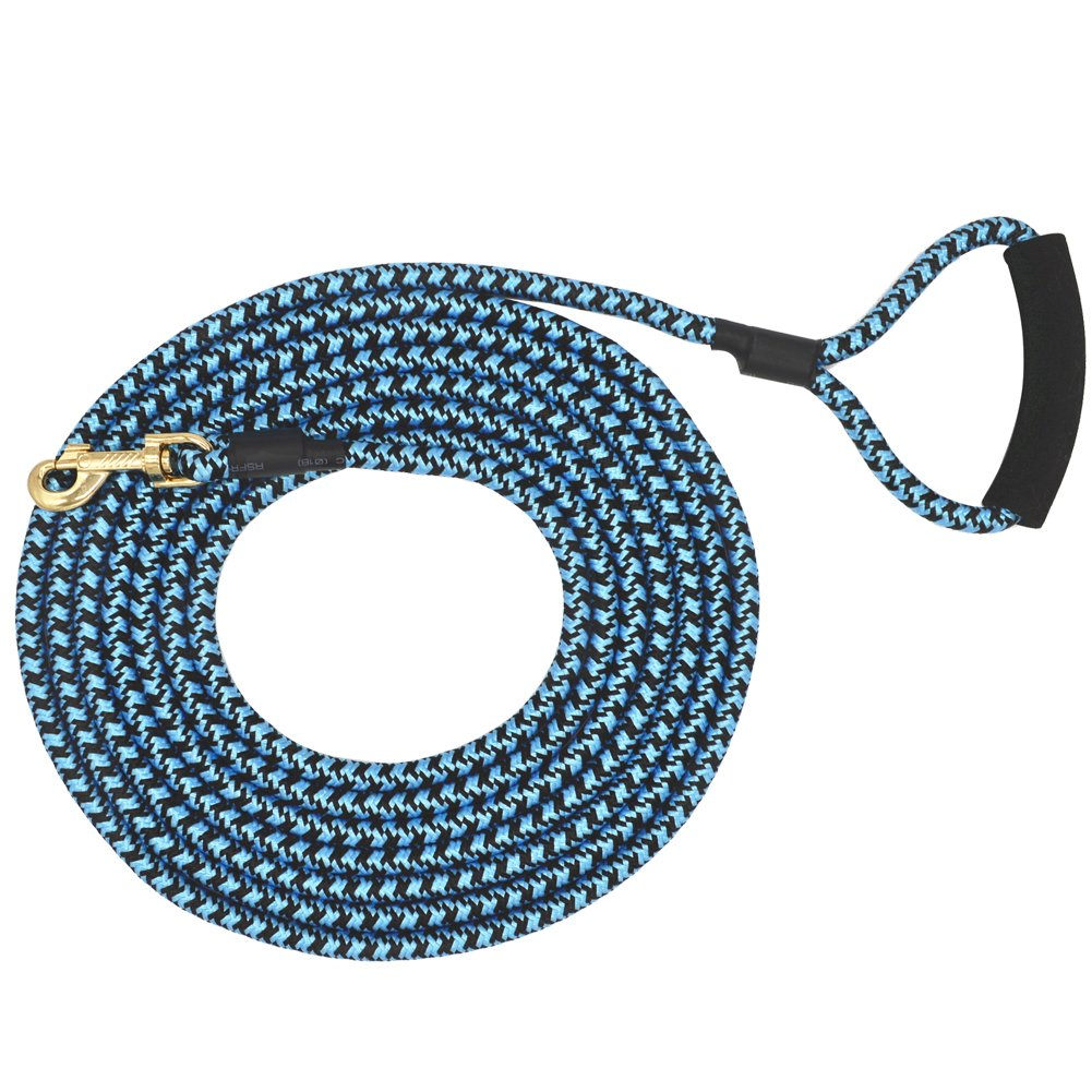 Nylon Strong Dog Rope Lead Leash Training Dog Lead with Soft Handle 6-20 FT Long Blue/Black (Dia:0.5'' 10FT)