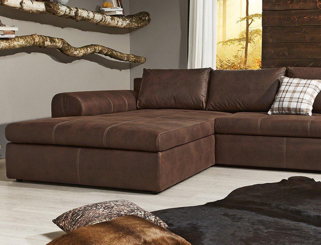 Wohnlandschaft braun  Wohnlandschaft Cassia 290x213cm braun Antiklederoptik Couch Sofa ...