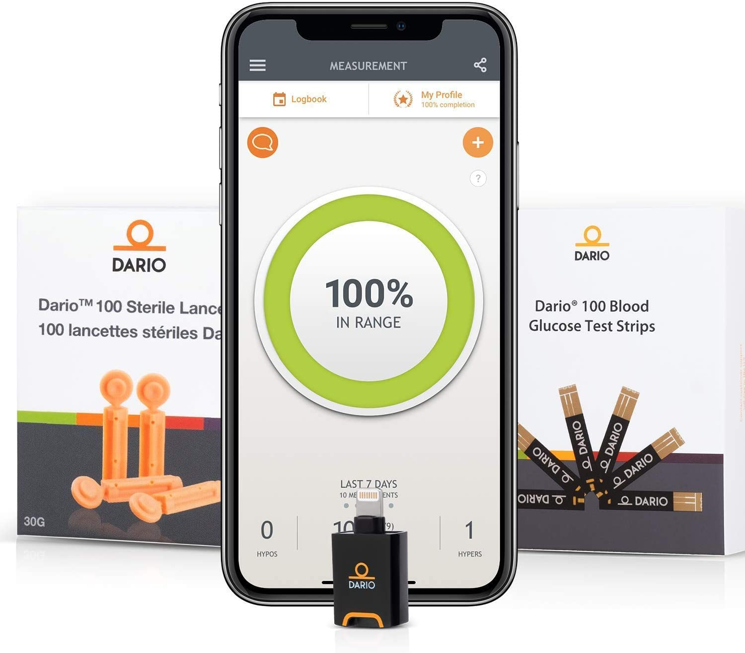 Bundle & Save Dario Diabetes Blood Glucose Meter Kit. Test Blood Sugar Estimate A1c. All-in-One Smart Blood Sugar Monitor + 125 Strips + 110 Sterile lancets (iPhone Only)