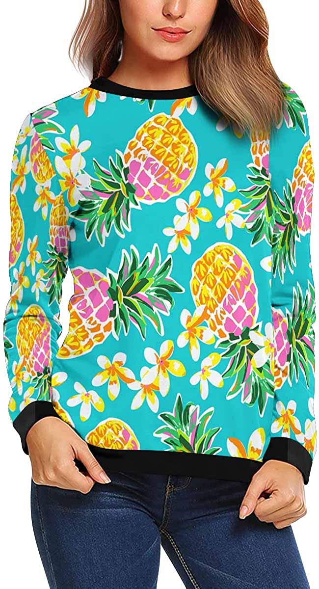 XS-XL INTERESTPRINT Womens Crew Neck Pullover Floral Pineapples Casual Long Sleeve Sweatshirt Tops