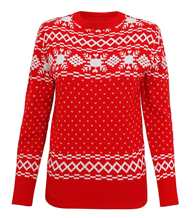 Womens Christmas Jumper Reindeer Eyelash Yarn Knitted Jumper Ladies
