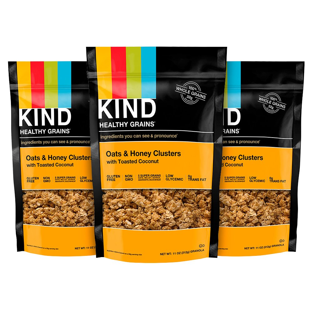 KIND Healthy Grains Granola Clusters, Oats and Honey with Toasted Coconut, Gluten Free, 11 Ounce Bags, 3 Count
