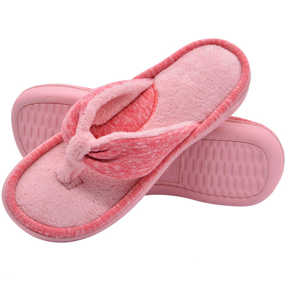 Wishcotton Women's Adjustable Memory Foam Spa Thong House Shoes Fluffy Flip Flop Slippers (L, Pink)