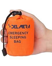 Delmera Emergency Survival Sleeping Bag, Lightweight Waterproof Thermal Emergency Blanket, Bivy Sack with Portable Drawstring Bag for Outdoor Adventure, Camping, Hiking, Orange