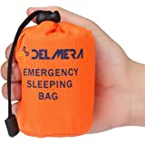 Delmera Emergency Survival Sleeping Bag, Lightweight Waterproof Thermal Emergency Blanket, Bivy Sack with Portable Drawstring Bag for Outdoor Adventure, Camping, Hiking, Orange