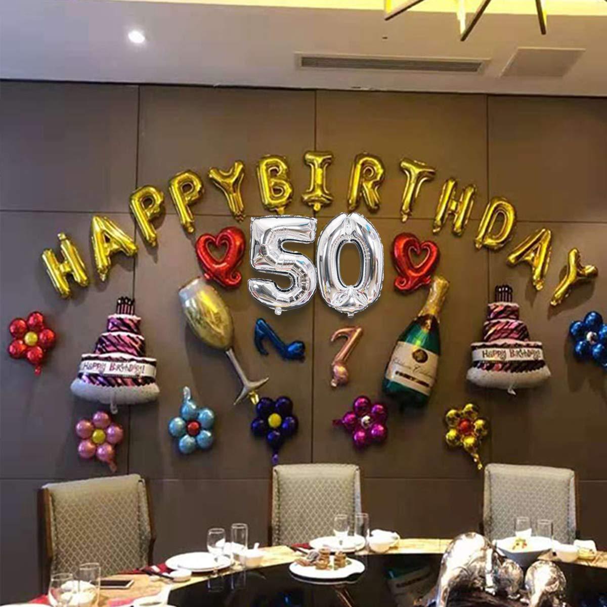 Meowoo Palloncini 50 Anni Palloncini Compleanno 50 Palloncini Compleanno 50 Anni Compleanno Argento 1 PCS