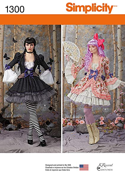 Amazon.com: Simplicity Pattern 1300 HH Misses\' Costume Overdress and ...