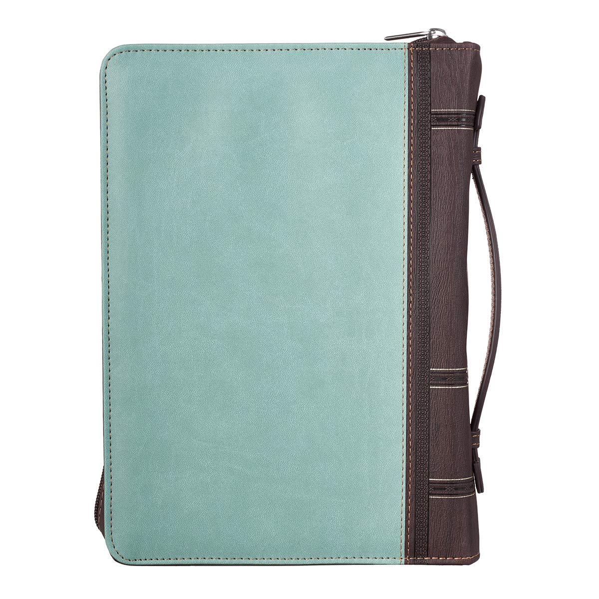 Bible Cover Blessed Is She Light Blue and Brown Medium