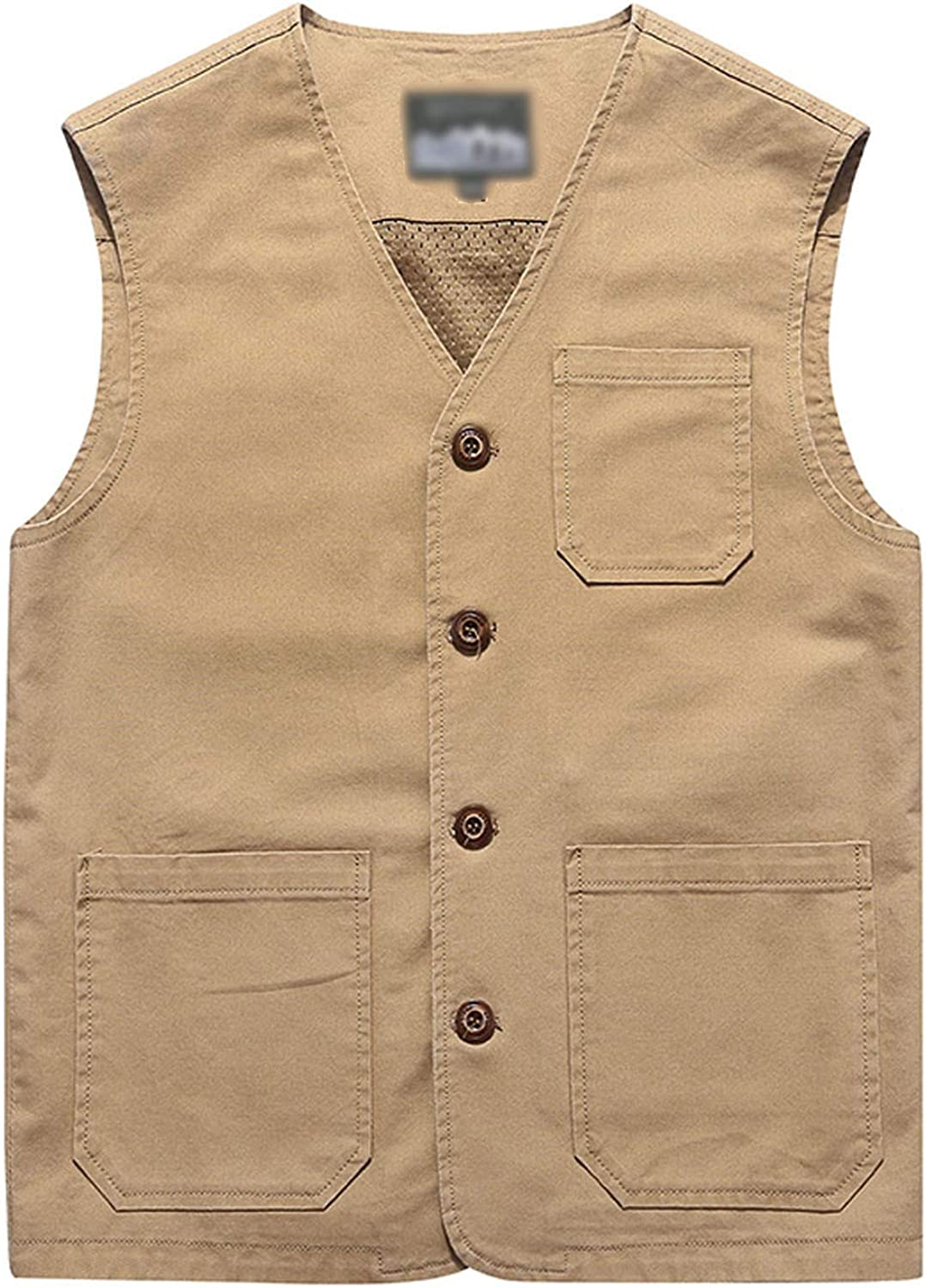 Men's Vintage Workwear Inspired Clothing Flygo Mens Casual Cotton Outdoor Fishing Travel Safari Photo Vest with Pockets $32.98 AT vintagedancer.com