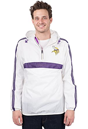 official photos a5e24 cff88 Ultra Game NFL Minnesota Vikings Men's Quarter Zip Pullover Hoodie  Windbreaker Jacket Packable, White, Large
